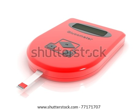 3D Glucometer in white background - stock photo