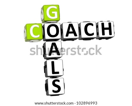 3D Goals Coach Crossword on white background - stock photo