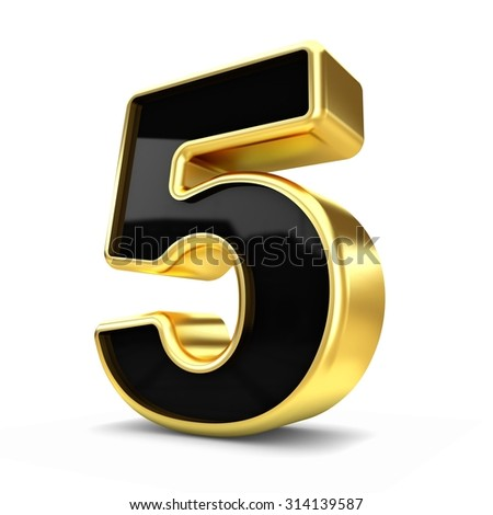 3d gold and black metal number 5 isolated white background - stock photo