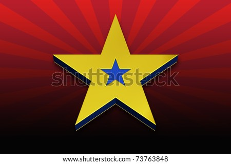 3D Gold and Blue Star on a Red Striped Background - stock photo
