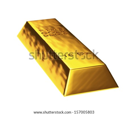 3d gold bar in white background - stock photo