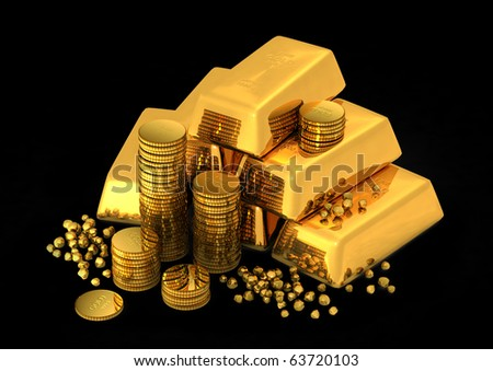 3d gold bars and coins - stock photo