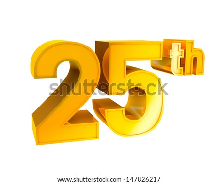 3D Gold Character Collection. 25th anniversary.  - stock photo