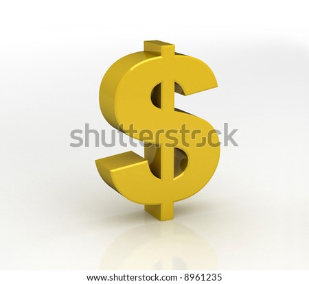 3D gold Dollar symbol with white background - stock photo