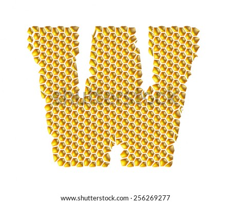 3D Gold Dotted Alphabet W on white background - stock photo