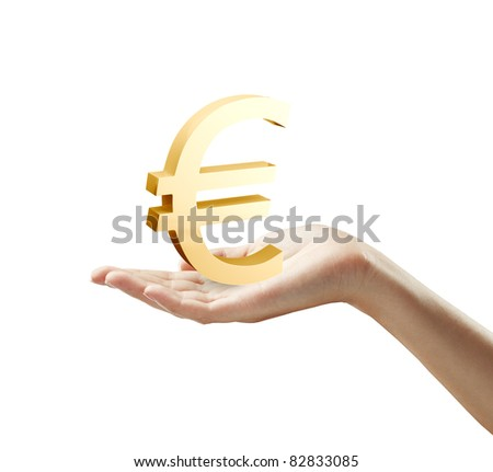 3d Gold Euro Sign on a woman's hand.Isolated on a white background - stock photo