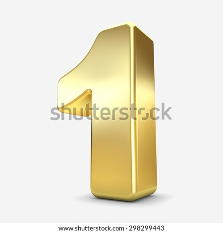 3d gold metal number 1  one isolated white background - stock photo