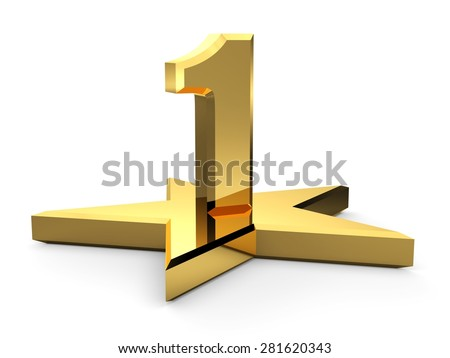 3d gold number 1 and star. One number and star - stock photo