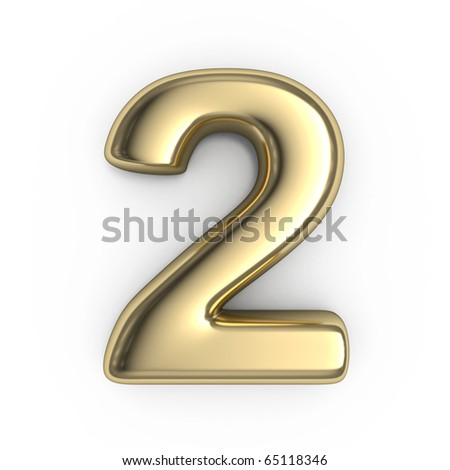 3d Gold numbers - number 2 - stock photo