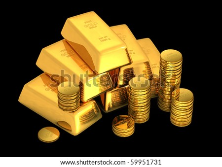3d gold on black background - stock photo