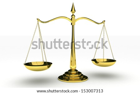 3d Gold scales of justice isolated on white background - stock photo