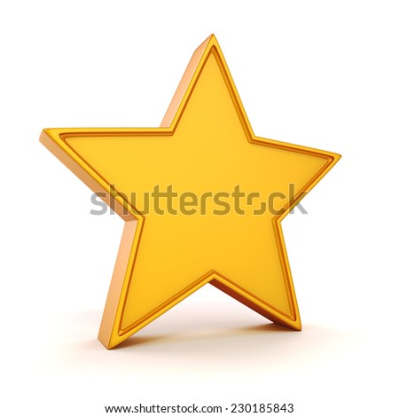 3d gold star on white background - stock photo