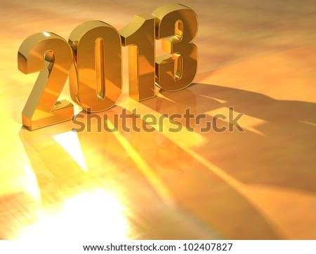 3D 2013 Gold text over yellow background - stock photo