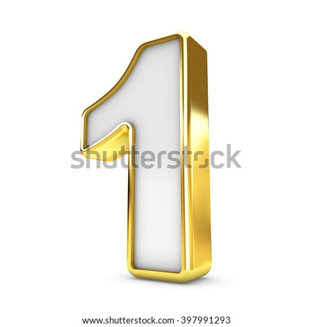 3d gold - white number 1 one isolated white background. - stock photo