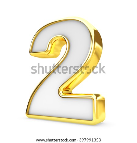 3d gold - white number 2 two isolated white background. - stock photo