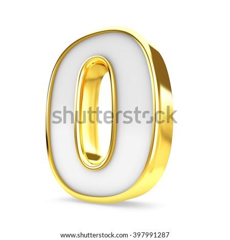 3d gold - white number 0 zero isolated white background. - stock photo