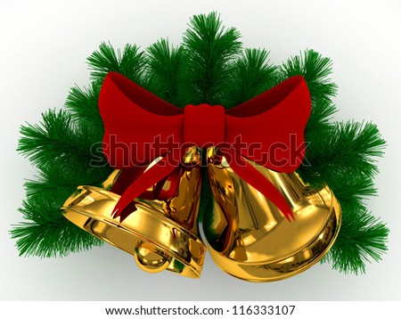 3D golden bells, red bow and sprigs of christmas tree on white - stock photo