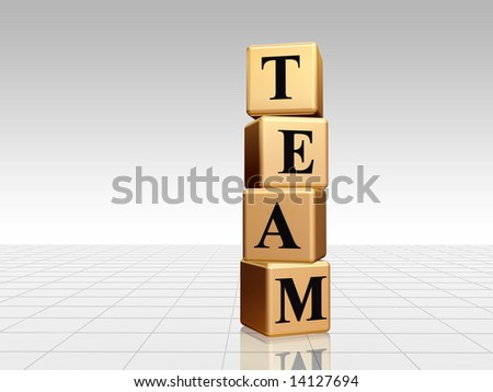 3d golden boxes with black letters with text team with reflection - stock photo