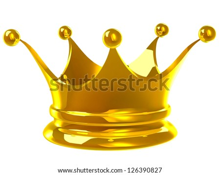3D Golden crown - stock photo