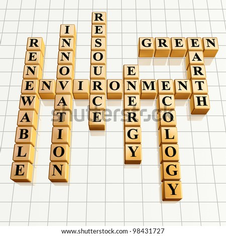 3d golden cubes, crossword - environment, renewable, innovation, resource, energy, ecology, Earth, green - stock photo