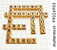 3d golden cubes, crossword - resource, innovation, renewable, Earth, energy, ecology, think - stock photo