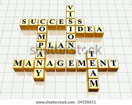 3d golden cubes like crossword - success; plan; idea; company; vision; management; team - stock photo