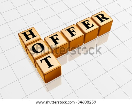 3d golden cubes with black letters like crossword with text - hot offer - stock photo