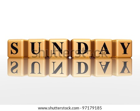 3d golden cubes with letters makes sunday - stock photo
