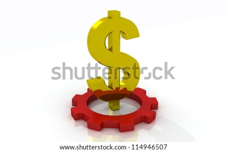 3D golden dollar concept - stock photo