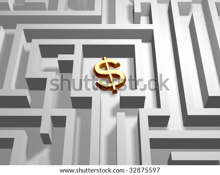 3d golden dollar symbol in the centre of labyrinth - stock photo