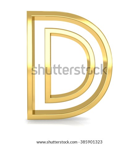 3d golden frame letter D rendering with gold metal empty line alphabet  - stock photo