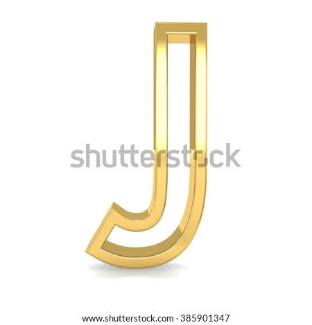 3d golden frame letter J rendering with gold metal empty line alphabet  - stock photo