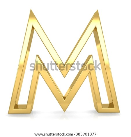 3d golden frame letter m rendering with gold metal empty line alphabet  - stock photo