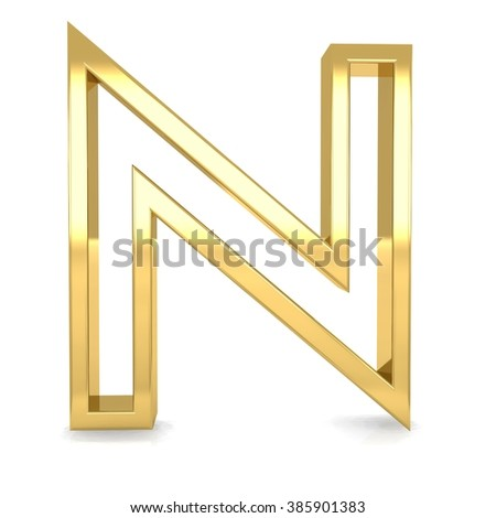 3d golden frame letter n rendering with gold metal empty line alphabet  - stock photo