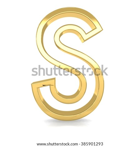 3d golden frame letter s rendering with gold metal empty line alphabet  - stock photo