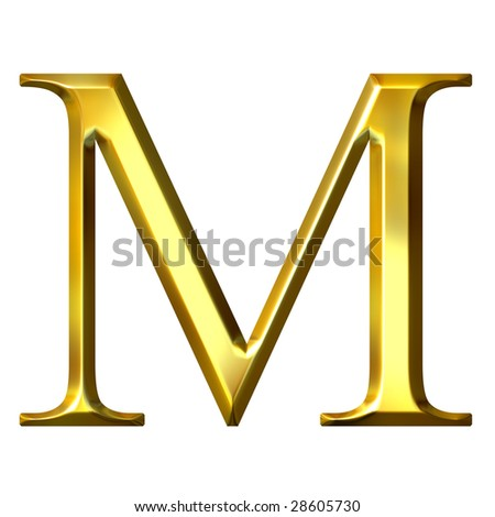 3d golden Greek letter my - stock photo