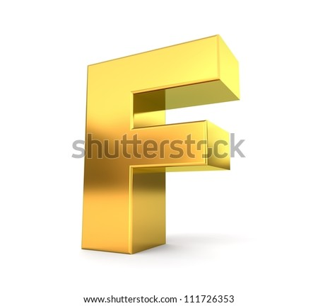 3d golden letter collection - F - stock photo