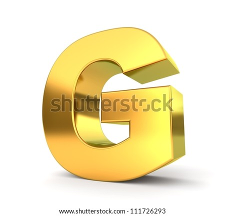 3d golden letter collection - G - stock photo