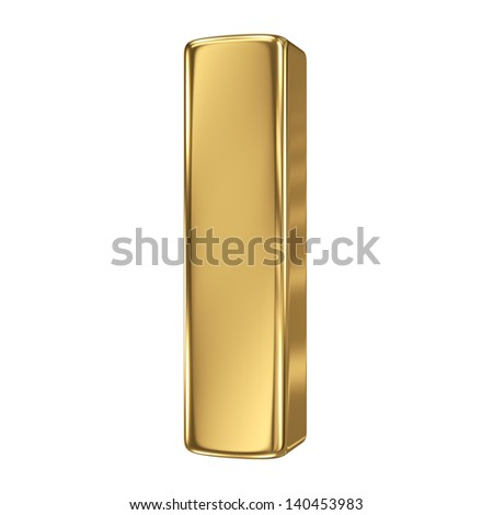 3d golden letter collection - I - stock photo