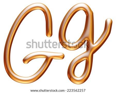 3d golden letter G isolated white background  - stock photo