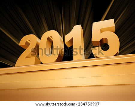 3d golden new year 2015 with rays over base - stock photo