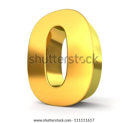 3d golden number collection - 0 - stock photo