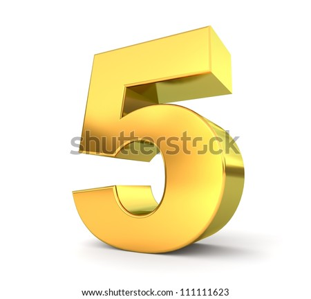 3d golden number collection - 5 - stock photo