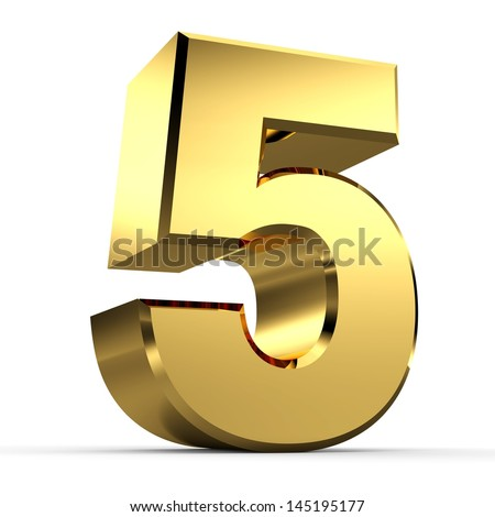 3D Golden Number Collection 5 - stock photo
