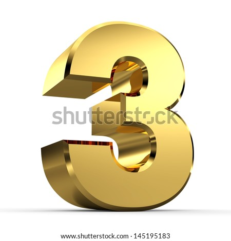 3D Golden Number Collection 3 - stock photo