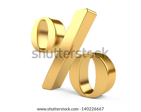 3d golden percent isolated on a white. 3d illustration - stock photo