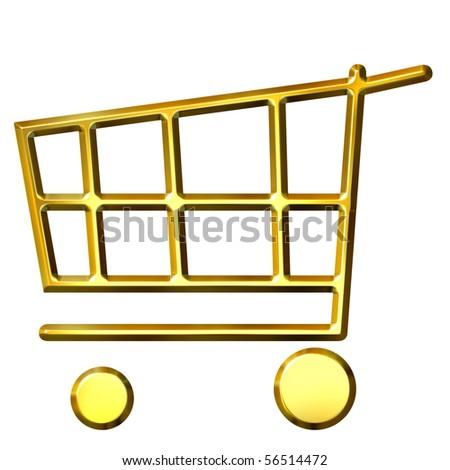 3d golden shopping cart - stock photo