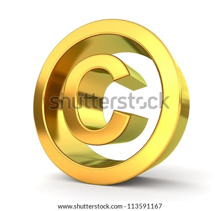 3d golden sign collection - copyright - stock photo