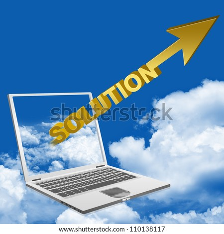 3d Golden Solution Arrow Flying Through Computer Notebook Screen - stock photo