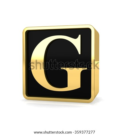 3d golden square box letter g with gold metal frame alphabet perspective render - stock photo